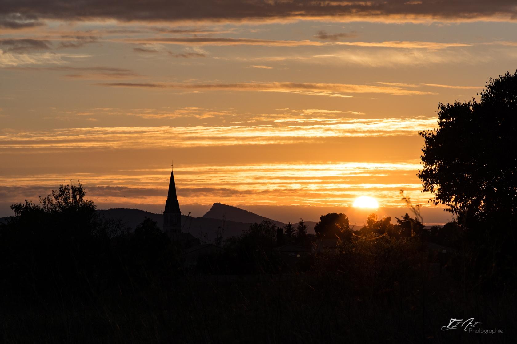 Saint André de Sangonis coucher soleil