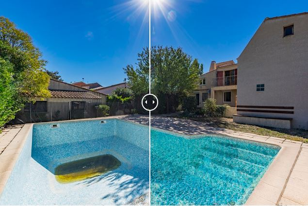 Retouche photo piscine Agence Bazille